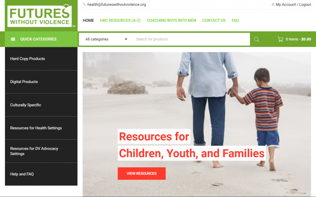 Screenshot of the homepage of the FUTURES' store