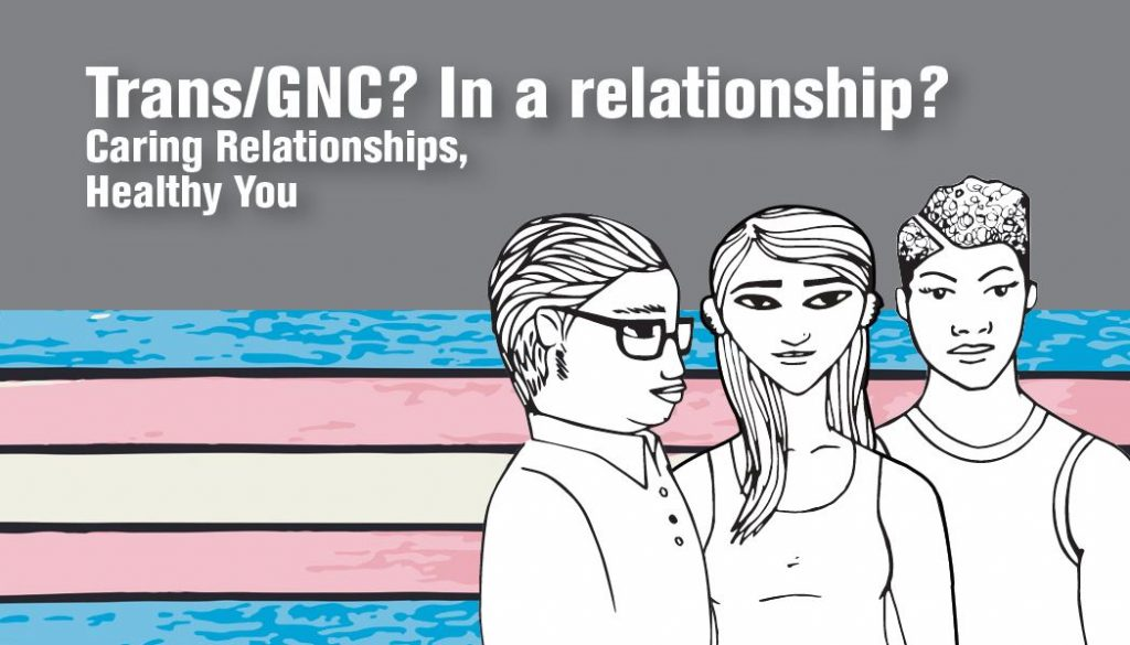 Safety resource for Trans/GNC Relationships: Trans/GNC? In a relationship? Caring Relationships, Healthy You