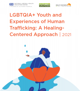 Cover art of the LGBTQIA+ Youth tool. A illustration of a brown skinned person with wavy hair sitting in a poppy flower collecting rain drops.